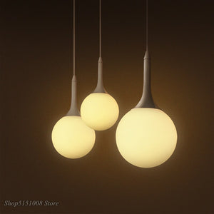 Glass Ball Pendant Light Fixtures Modern Loft Nordic Led Hanging Lamp For Living Room Bedroom Milk Lampshade Cafe Luminaire E27