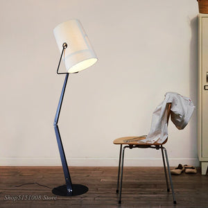 Italian Design Fork Led Floor Lamp Linen Lampshade Modern Art Decor Adjustable Metal Standing Light Bedroom Study Ligh Luminaire