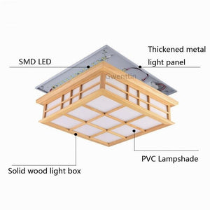 Japanese Style Wood Led Ceiling Lamp Tatami Square Wooden Ceiling Light Fixtures Living Room Bedroom Luminaire Home Loft Decor