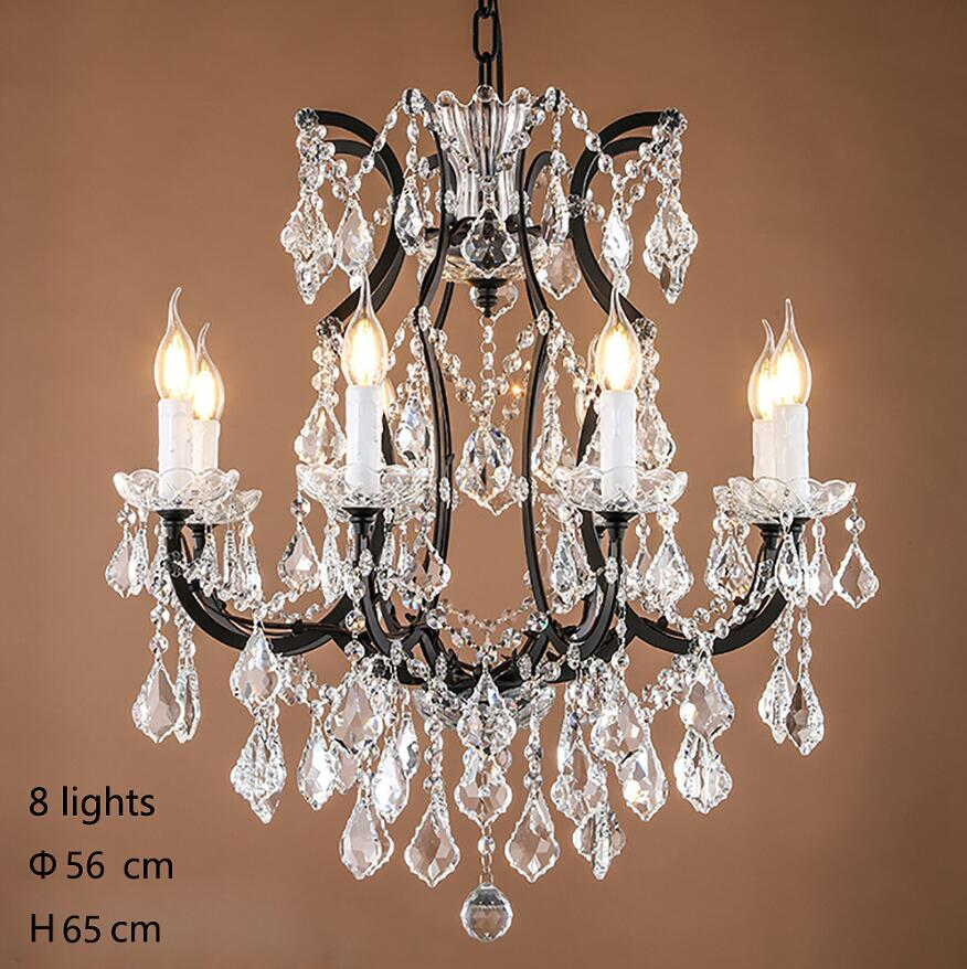 Loft Retro Vintage Big Crystal Chandeliers Lustre Modern Hanging Lamp E14 LED 110V 220V Lighting For Kitchen Living Room Bedroom