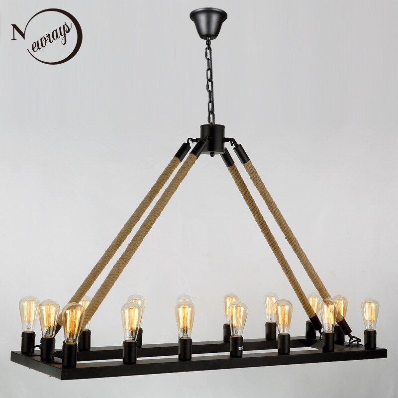 Loft Style Nordic Retro Vintage Hemp Rope Square Black Iron Rust Color Chandeliers E27 AC 110V 220V 16 Lights Industrial Lamp