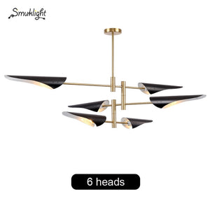 Metal Wind Oblique Mouth Creative Post Modern Nordic Industrial Style Living Room Style Wrought Iron Fashion Designer Chandelier