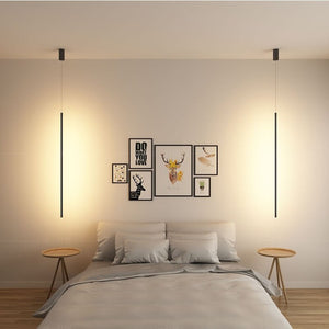 Minimalist Line Strip Pendant Lamp LED DiningRoom Light Dining Table Office Modern Pendant Lights Hanging Lamps Lighting Fixture