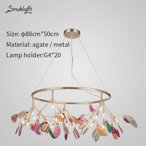 Modern Agate Led Chandeliers Lighting Living Room Gold Metal Led Pendant Chandelier Lights Dining Room Led Hanging Lamp Fixtures