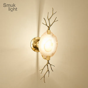 Modern Agate Wall Light E14 Light Creative Light Luxury Living Room Dining Room Aisle Bedside Wall Lighting Agate Wall Lamp