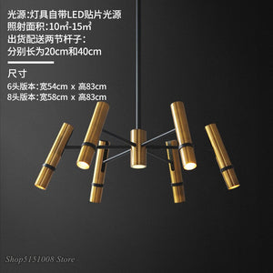 Modern Chandelier Lighting Nordic Designer Golden Steam Tube Lustre Suspension Pendant Lamps For Living Room Bedroom LED Light