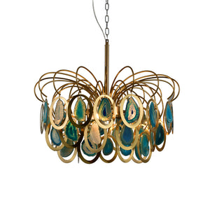 Modern Chandeliers Luxury Agate Suspension Light E14 Creative Blue Restaurant Ceiling Hanging Lighting Home Decoration Fixture