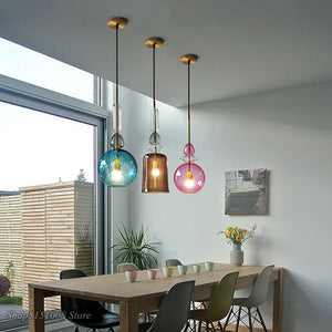 Modern Color Candy Pendant Lights Nordic Creative Glass Hang Lamp For Living Room Restaurant Cafe Home Lighting Kitchen Fixtures