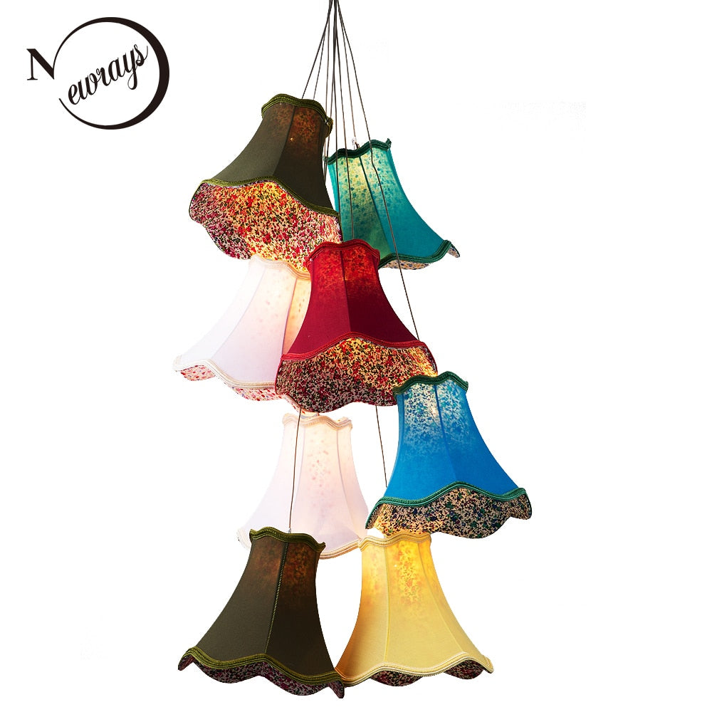 Modern Colourful Fabric Lampshade LED Large Stair Chandeliers Lighting Lustre G4 Lamps 8 Heads DIY Girls Bedroom Living Room
