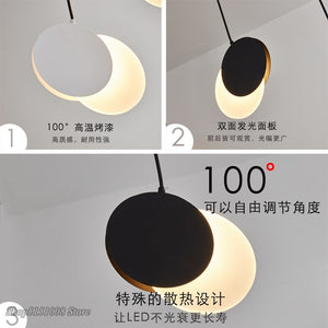 Modern Creative Half Moon LED Pendant Light Bedroom Bedside Hanging Lamp Dining Room Decor Lighting Fixture 3 Colors Switchable