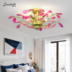 Modern Design Chandeliers Blue Purple Orange Green Grey Yellow Red Natural Agate Slices Chandelier Decoration Lighting Fixture