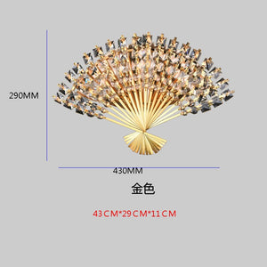 Modern Fan-Shape Wall Lights Luxury Crystal Wall Lamps Corridor Bedroom Bedside LED Sconces Light Fixtures Decoration