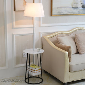 Modern Floor Lamps Cloth Lampshade American Standing Lamp For Living Room Bedroom Floor Lights Fixtures Iron Table Home Fixtures