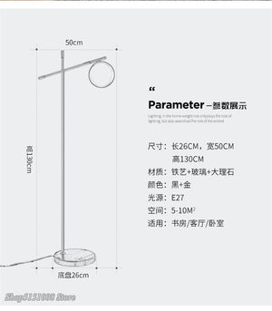 Modern Floor Lamps Nordic Designer Glass Ball Lampshade Marble Base LED Stand Lamps Living Room Bedroom Decor Lighting Luminaire