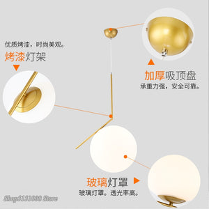 Modern Glass Ball LED Pendant Lights Dining Room Kitchen Hanging Lamp Bar Restaurant Indoor Home Decor Fixture Luminaire Lustre