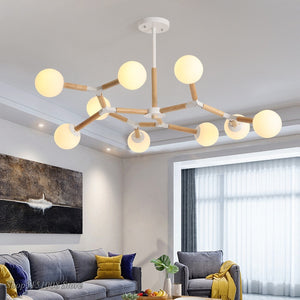 Modern Glass Chandeliers Light Nordic Dining Room Kitchen Hanging Lamps Wooden Chandelier Indoor Decor Lustre Lighting Fixtures