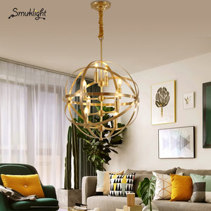 Modern Golden Led Pendant Lighting Round Copper Dining Room LED Pendant Lamp Lights Living Room Restaurant Hanging Lamp Fixtures