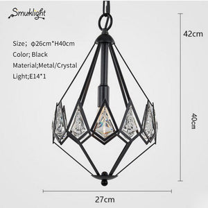 Modern Industrial Vintage Cage Pendant Lanp Metal Diamond Pyramid Home Pendant Light Suitable Restaurantbedroom E27 Bulbs