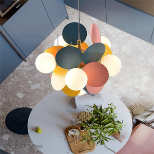 Modern Iron Art Pendant Lights Macaron LED Hanging Lamps Living Room Bedroom Dining Room Loft Home Decor Light Fixtures