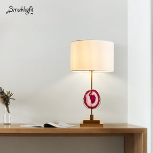 Modern LED Desk Lamp Household Bedroom Bedside Table Lamp Desk Cabinet Living Room Table Lamps Cloth Art Agate Lamp