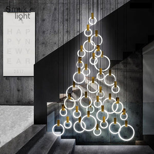 Modern LED Pendant Lamp Nordic Living Room Pendant Lamp Bedroom Fixtures Stair Lighting Novelty Illumination Loft Hanging Light
