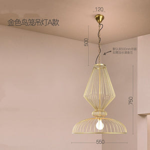 Modern LED Pendant Lights Golden Chinese Bird Cage Pendant Lamps Living Room Bedroom Kitchen Hanging Lighting Decor Fixtures