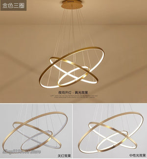 Modern LED Pendant Lights For Living Dining Room White Golden Black Circle Rings Aluminum Body Pendant Lamp Home Decor Fixtures