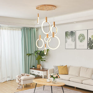 Modern Led Pendant Lights Acrylic Circles Wood Pendant Lamp Nordic Living Room Stair Hanging Lamp Suspend Lamp Lighting Fixtures