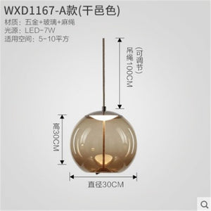 Modern Led Pendant Lights Wrought Iron Glass Round Ball Brass Rod Kitchen Hanging Lamps Living Room Cafe Nordic Light Fixtures