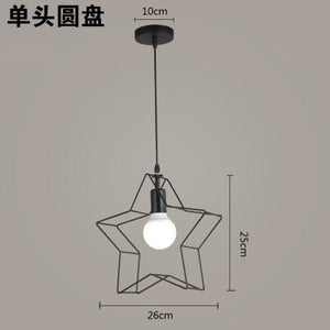 Modern Loft Iron Star Pendant Light Retro Industrial LED Pendant Lamp Children Bedroom Restaurant Hanging Lamp Lighting Fixtures