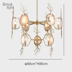 Modern Luxury Agate Copper Gold E14 Led Chandelier Metal Antlers Pendant Chandelier Lighting Hotel Decoration New Collection