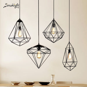 Modern Metal Diamond Cage Pendant Light Vintage BlackGold Birdcage Pendant Lamp Creative Hanging Lampfor Restaurant Living Room