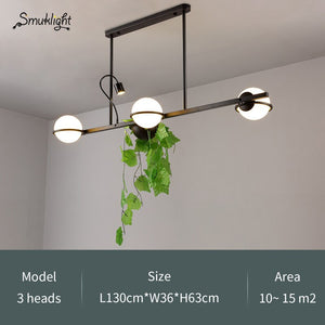 Modern Milk White Glass Ball Pendant Light With Plants Dining Room Foyer Bar Lobby Suspension Hanging Lamp Decorative Lights