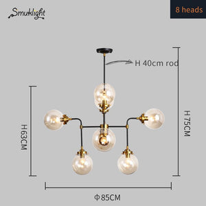 Modern Minimalist Creative Magic Bean Glass Ball Wrought Iron Nordic Living Room Pendant Lamp E27 Decorative Home Lighting Lamp