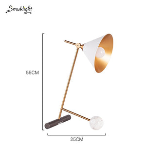 Modern Minimalist Creative Metal Marble Table Lamp American Model Room Living Room Bedroom Bedside Decoration Table Lamp