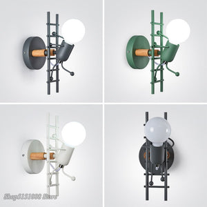Modern Nordic Creative Iron Wall Lamp Little Man Climb Stair Bedside Led Wall Light Kid's Room Living Room Wall Sconce Decor
