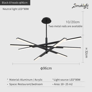 Modern Pendant Light Hang Bar Droplight Conference Room Home Study Decor Combination Pendant Lamps Acrylic LED Lighting