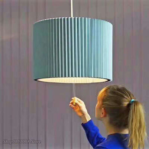 Modern Retractable Deformable LED Pendant Lights Simple Hanging Lamp Fabric Pleated Pendant Lamp Living Room Bedroom Luminaire