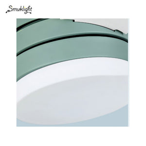 Modern Simple Pendant Light With Fans Green White Fan Leaf Restaurant Living Room Bedroom Ceiling Mounted Deco ABS Fans Light