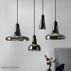 Modern Smoke Gray Glass Pendant Lights Nordic Dining Room Special Disc Design Pendant Lamp Lustre Hanging Lamp Lighting Fixtures