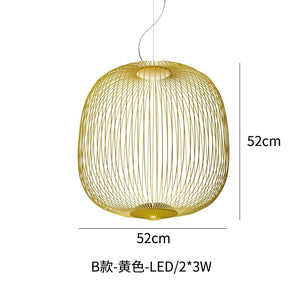 Modern Spokes Pendant Lamp For Living Room Dining Room Study Shadow Bird Cage Pendant Light Home Decor Led Hanging Lamp Fixture
