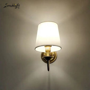 Modern Wall Lamp Real Copper Wall E14 Sconces Fabric Lampshade Bathroom Mirror Bedside Cabinet Fixtures Home Lighting Decoration