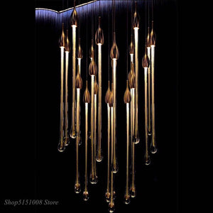Modern Water-drop Glass Pendant Lights Cristal Kitchen Hanging Lamp Luminaire Lustres Cristal Dining Room Deco Lighting Fixtures