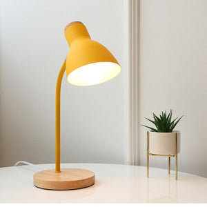 Modern Wood Table Lamp 6 Colours Metal Shade Desk Lamp Bedside Bedroom Dimmable Adjustable Reading Table Light Decor Lighting