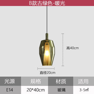 Modern Creative Colour Glass Pendant Lights Restaurant Kitchen Hanging Lamp Nordic Bedroom Bedside Industrial Home Decor Fixture