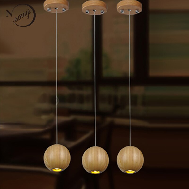 Modern Nature Solid Wood Ball Ceiling Pendant Lamp G4 Light Cord