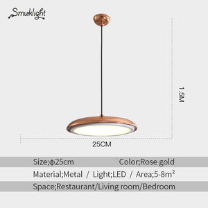 Modern Nordic LED Pendant Lamp Art Design Metal Iron Acrylic Suspension Round Plate Light RC Dimmer Creative Thin Hanging Lamp