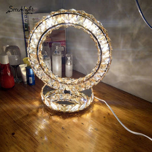 Modern Stainless Steel Crystal Table Lamps Led Table Lights Heart Led WhiteWarm Lighting Desk Lamp Round Desk Light Fixture