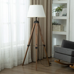 Modern Tripot Floor Lamps Wood Fabric Lampshade Tripod Standing Lamp For Nordic Living Room Bedroom Home Decor Lighting Fixtures