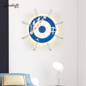 NEW Boat Rudder Wall Lamp Home Decor Warm Night Light LED Kid Bedroom Art Decoration Projection Shadow Acrylic Plate Wall Lamps